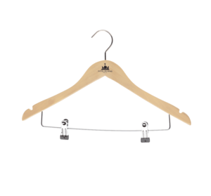 Kleiderbügel mit gummiertem Hosensteg naturfarben